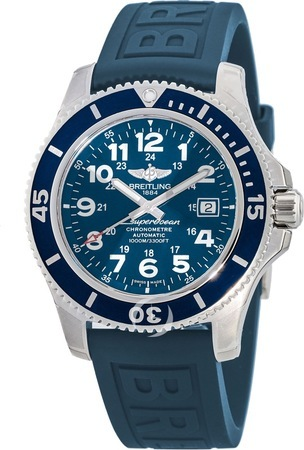 Breitling Superocean II 44 Blue Dial Rubber Deployment Strap Men's Watch A17392D8/C910-157S