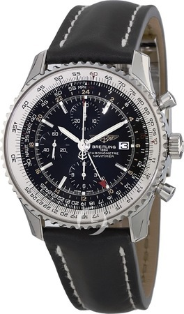 Breitling Navitimer 1 GMT 46 Black Chronograph Dial Calf Leather Deployment Strap Men's Watch A2432212/B726-442X