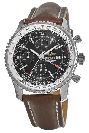 Breitling Navitimer 1 GMT 46 Black Chronograph Dial Brown Leather Strap Men's Watch A2432212/B726-443X