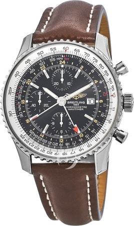 Breitling Navitimer World Black Dial Brown Leather Men's Watch A2432212/B726-444X