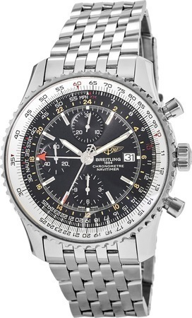 Breitling Navitimer World GMT Chronograph Stainless Steel Men's Watch A2432212/B726-453A