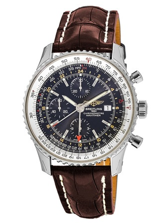 Breitling Navitimer 1 GMT 46 Black Chronograph Dial Brown Leather Strap Men's Watch A2432212/B726-756P