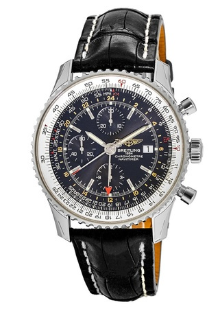 Breitling Navitimer 1 GMT 46 Black Chronograph Dial Tang Crocodile Leather Strap Men's Watch A2432212/B726-760P