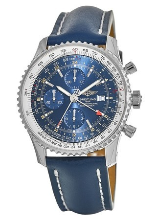 Breitling Navitimer World Blue GMT Chronograph Calf Leather Strap Men's Watch A2432212/C651-101X
