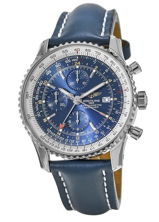 Breitling Navitimer World Blue GMT Chronograph Dial Calf Leather Strap Men's Watch A2432212/C651-101X-SD