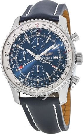 Breitling Navitimer World GMT Blue Chronograph Leather Strap Men's Watch A2432212/C651-102X