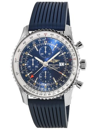 Breitling Navitimer World Blue Dial Blue Rubber Men's Watch A2432212/C651-258S