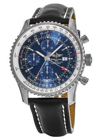 Breitling Navitimer World Blue Chronograph GMT Dial Black Leather Strap Men's Watch A2432212/C651-441X
