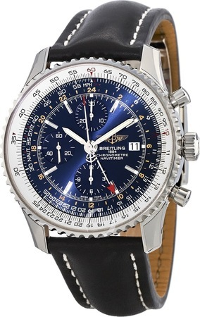 Breitling Navitimer World Blue Dial Black Leather Men's Watch A2432212/C651-442X