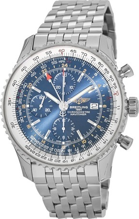 Breitling Navitimer World GMT Blue Chronograph Dial Steel Men's Watch A2432212/C651-443A