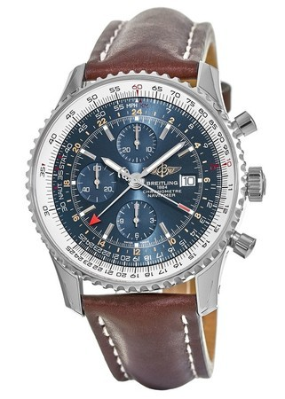 Breitling Navitimer 1 GMT 46 Blue Chronograph Dial Brown Leather Strap Men's Watch A2432212/C651-443X