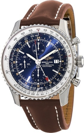 Breitling Navitimer World Blue Dial Brown Leather Men's Watch A2432212/C651-444X