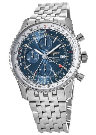 Breitling Navitimer World GMT Blue Chronograph Dial Steel Men's Watch A2432212/C651-453A