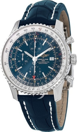 Breitling Navitimer World Blue Chronograph Dial Crocodile Strap Men's Watch A2432212/C651-747P