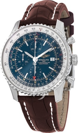 Breitling Navitimer 1 GMT 46 Blue Chronograph Dial Brown Crocodile Leather Strap Men's Watch A2432212/C651-756P
