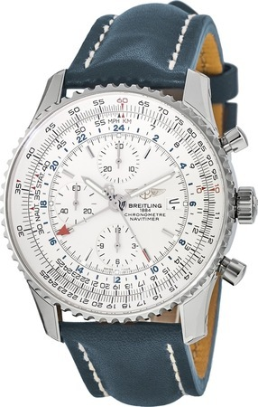 Breitling Navitimer World Silver Dial Blue Strap Men's Watch A2432212/G571-102X