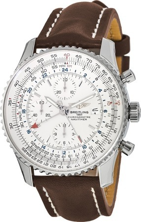 Breitling Navitimer  Silver Dial Brown Strap Men's Watch A2432212/G571-439X