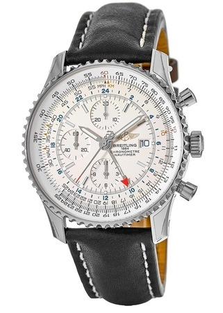 Breitling Navitimer World Silver Dial GMT Chronograph Black Leather Strap Men's Watch A2432212/G571-441X