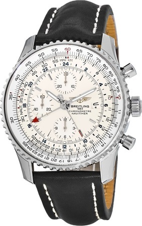 Breitling Navitimer World Silver Dial Black Strap Men's Watch A2432212/G571-442X