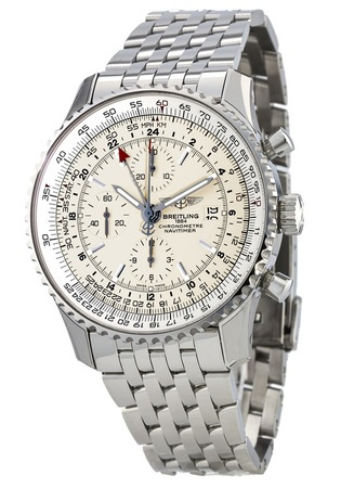 Breitling Navitimer World Silver Dial GMT Chronograph Steel Men's Watch A2432212/G571-443A