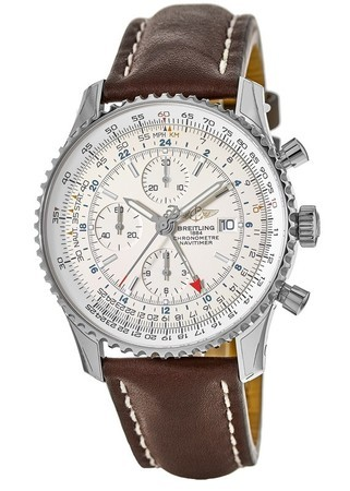 Breitling Navitimer 1 GMT 46 Silver Chronograph Dial Brown Calf Strap Men's Watch A2432212/G571-443X