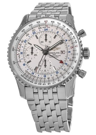 Breitling Navitimer World Silver Dial GMT Chronograph Steel Men's Watch A2432212/G571-453A