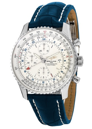 Breitling Navitimer World Silver Dial Blue Crocodile Men's Watch A2432212/G571-747P