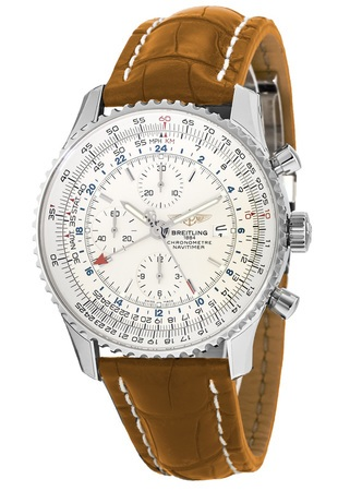 Breitling Navitimer World Silver Dial GMT Chronograph Brown Crocodile Deployment Strap Men's Watch A2432212/G571-755P