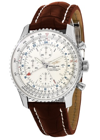 Breitling Navitimer World GMT Chronograph Brown Crocodile Strap Men's Watch A2432212/G571-756P