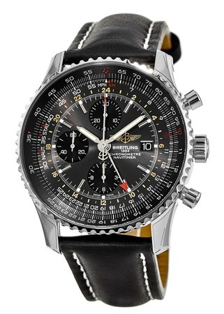 Breitling Navitimer World Limited Edition Stratus Grey Black Leather Strap Men's Watch A243223A/F571-441X