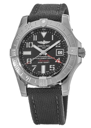 Breitling Avenger II GMT Black Dial Anthracite Fabric Men's Watch A3239011/BC34-109W