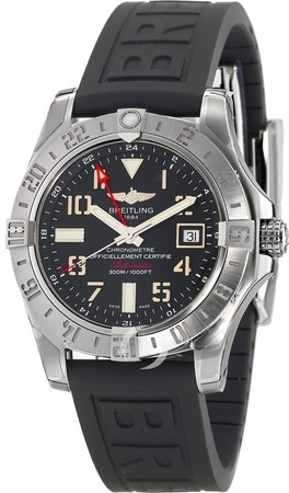 Breitling Avenger II GMT Black Dial Black Rubber Men's Watch A3239011/BC34-153S