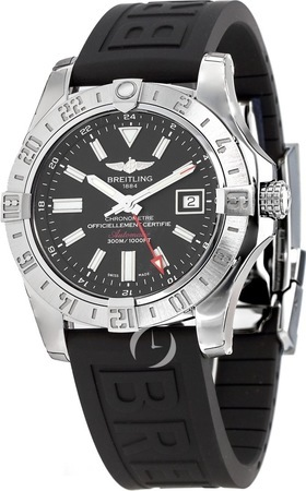 Breitling Avenger II GMT Black Rubber Diver Deployment Men's Watch A3239011/BC35-153S