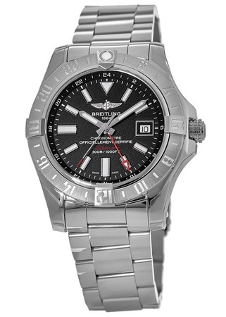 Breitling Avenger II GMT Black Stick Dial Stainless Steel Men's Watch A3239011/BC35-170A
