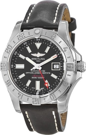 Breitling Avenger II GMT Black Stick Dial Leather Strap Men's Watch A3239011/BC35-435X