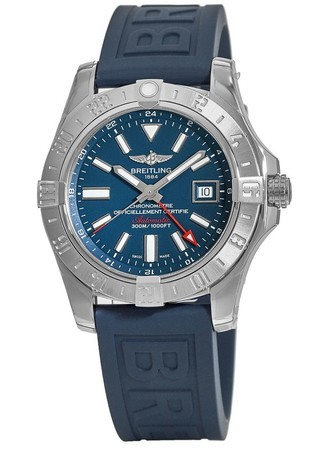 Breitling Avenger Avenger II GMT Mariner Blue Dial Tang Rubber Strap A32390111C1S2 Men's Watch A3239011/C872-158S