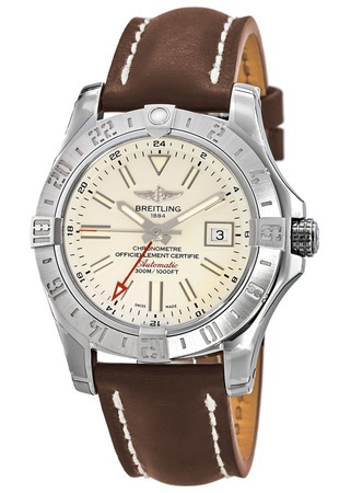 Breitling Avenger Avenger II GMT Silver Dial Leather Strap Men's Watch A3239011/G778-437X
