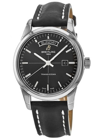Breitling Transocean Day Date Automatic Black Dial Leather Strap Men's Watch A4531012/BB69-435X