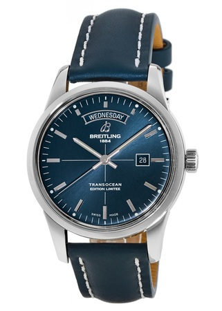 Breitling Transocean Day Date Blue Dial Limited Edition Leather Strap Men's Watch A453109T/C921-105X