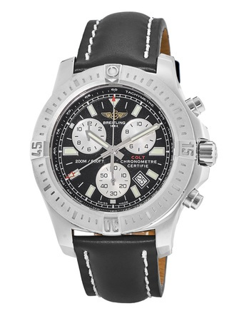 Breitling Colt Chronograph Quartz Black Dial Calf Leather Strap Men's Watch A7338811/BD43-435X