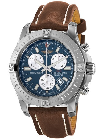 Breitling Colt Chronograph Quartz Blue Dial Brown Leather Strap Men's Watch A7338811/C905-433X