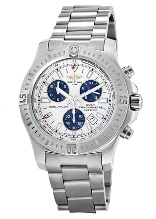 Breitling Colt Chronograph Quartz Silver & Blue Dial Steel Band Men's Watch A7338811/G790-173A