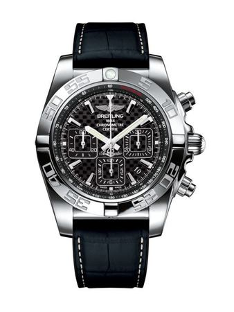 Breitling Chronomat 44 Carbon Dial Crocodile Rubber Men's Watch AB011012/BF76-296S