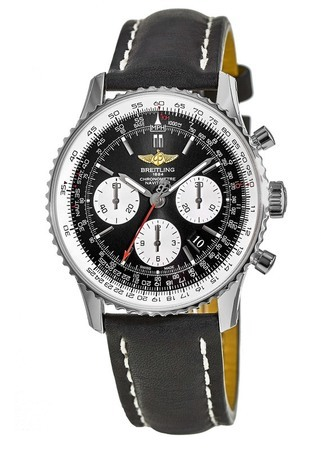 Breitling Navitimer 01 (43mm) Black Dial Black Leather Men's Watch AB012012/BB01-435X