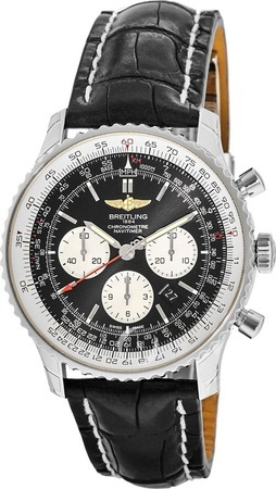 Breitling Navitimer 01 (43mm) Chronograph Black Crocodile Deployment Strap Men's Watch AB012012/BB01-744P
