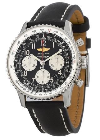 Breitling Navitimer 01 (43mm) Black Chronograph Dial Leather Strap Men's Watch AB012012/BB02-435X