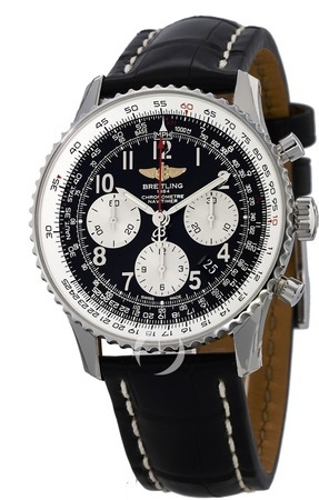 Breitling Navitimer 01 (43mm) Black Arabic Chronograph Crocodile Strap Men's Watch AB012012/BB02-743P