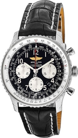 Breitling Navitimer 01 (43mm) Black Dial Crocodile Strap Men's Watch AB012012/BB02-744P