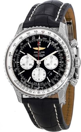 Breitling Navitimer 01 (46mm) Black Automatic Chronograph Crocodile Strap Men's Watch AB012721/BD09-761P
