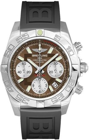 Breitling Chronomat 41 Brown Dial Black Rubber Men's Watch AB014012/Q583-151S